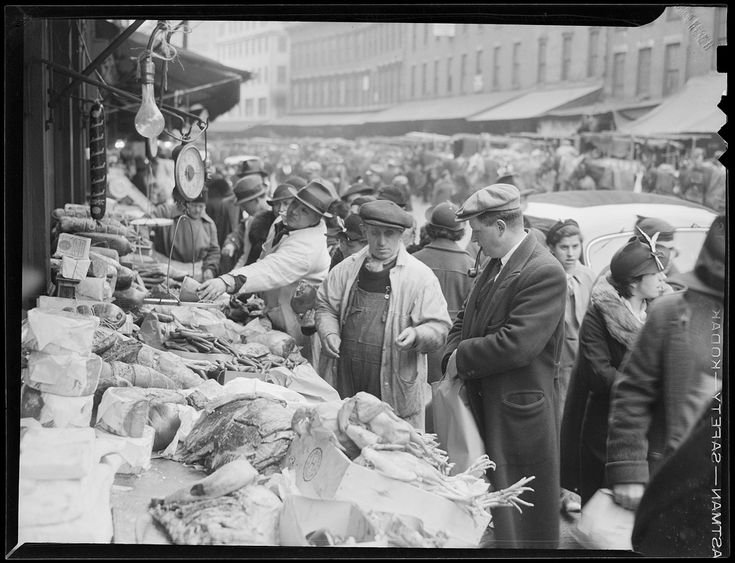 File name: 08_06_035043 Title: Blackstone Street food vendors Creator/Contributor: Jones, Leslie, 1886-1967 (photographer) Date created: 1937 Physical description: 1 negative : film, black & white; 3 1/8 x 4 1/4 in. Genre: Film negatives Subject: Markets; Butcher shops; Butchers; Meat; North End (Boston, Mass.) Notes: Title and date from information provided by Leslie Jones or the Boston Public Library on the negative or negative sleeve.  Collection: Leslie Jones Collection...