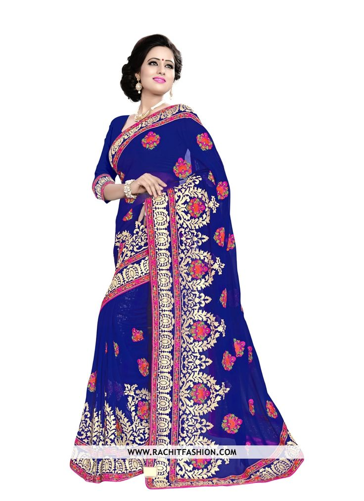 Spread the elegance at the next gala wearing this beautiful georgette designer saree in blue colour.