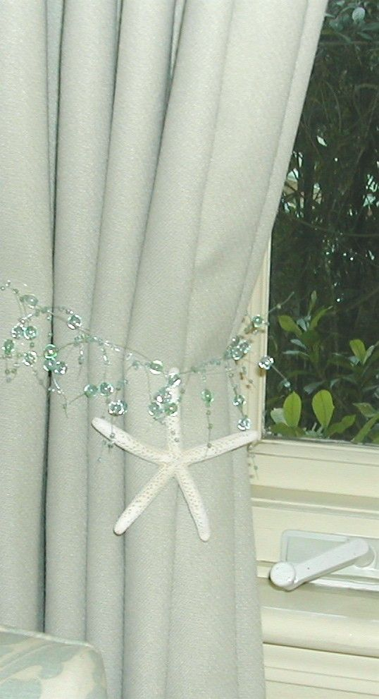 Beach Decor - 2 Curtain Tiebacks with Natural Starfish ...