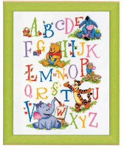 Winnie de Poeh en zijn vriendjes Kleurig ABC borduurpakket - Vervaco