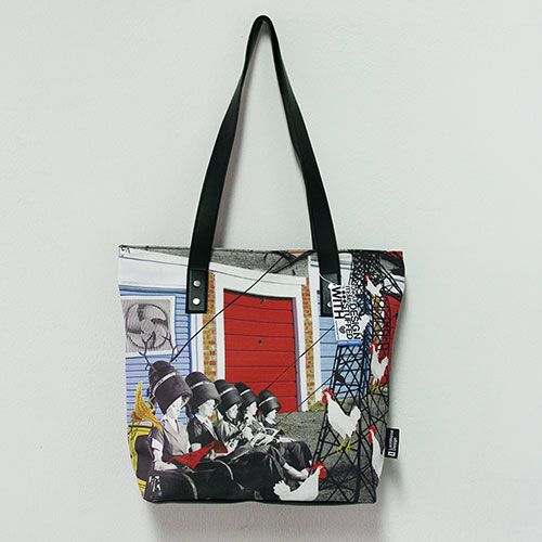 """""""At the hairdresser's"""" A bag with surreal drawings, in vivid colors and intense contrast. Inspired and designed for the everyday life contradictions."""