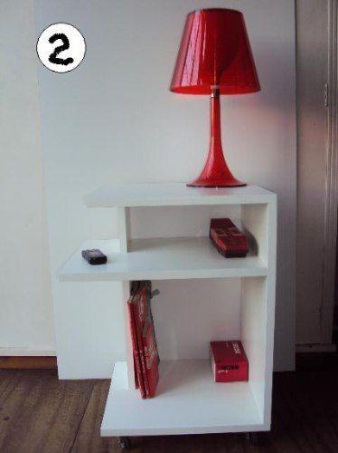 Mesa de luz mesita 1 2 minimalista c rueda m dise o for Mesita para telefono