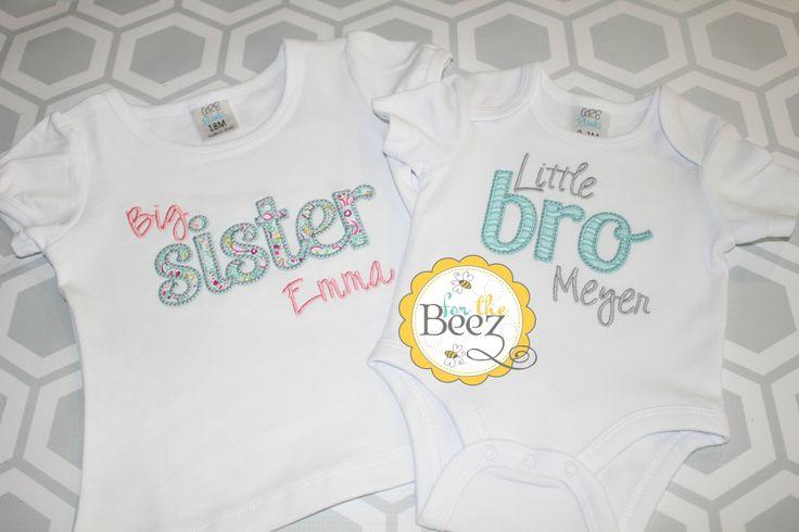 Sibling Set, Big Sister Little Brother Set, Matching Sibling Shirts, Big Sister Little Brother, Big Sister Little Brother Outfits by Forthebeez on Etsy https://www.etsy.com/listing/249176116/sibling-set-big-sister-little-brother