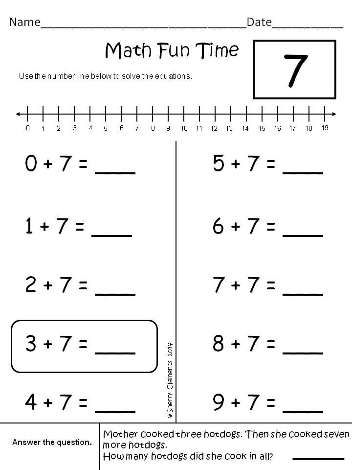 Addition Problems (sums 1-19) - included a word problem on each page - Addition for kindergarten or 1st grade - $