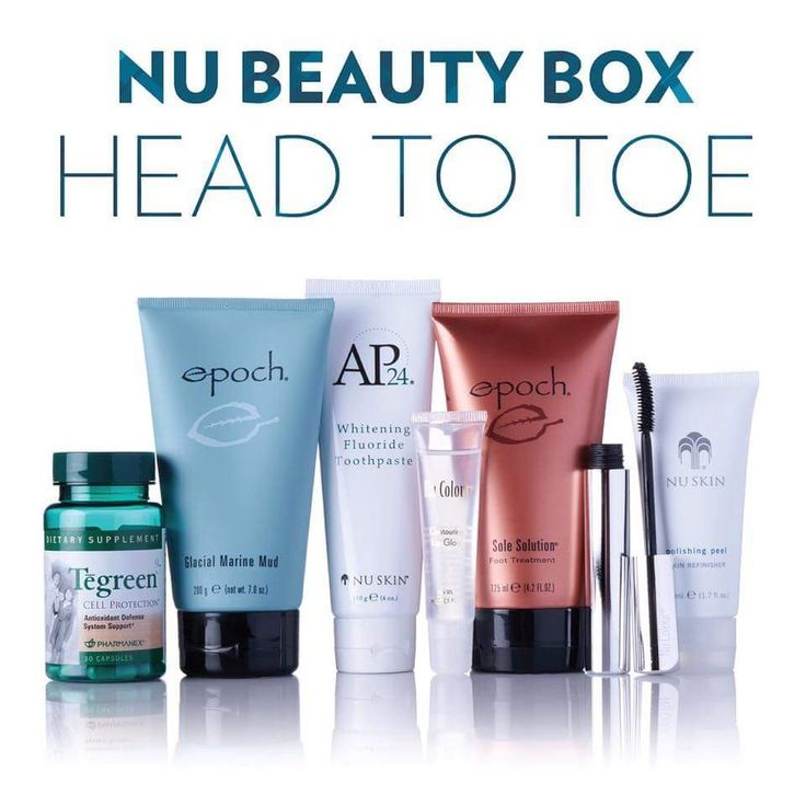 Beuty box   1x AP-24 Whitening Toothpaste 4oz  1x Epoch Glacial Marine Mud  1x Contouring Lip gloss Crystal Clear  1x Tegreen (30 capsules)  1x Nu Colour Curling Mascara Black  1x Polishing Peel Skin Refinisher  1x NaPCA Moisture Mist  ↪️
