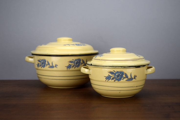 Vintage Enamelware Casserole Pans with Lids, Yellow Enamel with Blue Flowers, French Country Kitchen Decor by TheRecycleista on Etsy