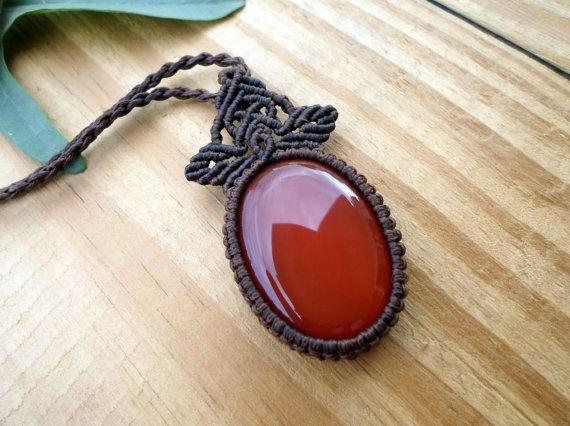 Carnelian macrame pendant macrame necklace by SelinofosArt on Etsy