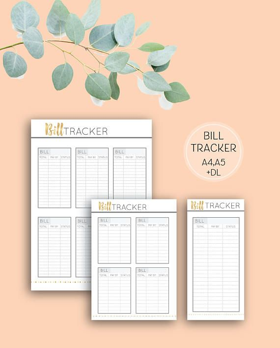 Printable Bill Tracker, Grey & Gold digital download planner organisation page in A4, A5 and DL sizes