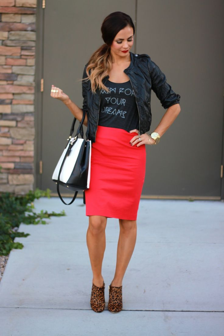 Leather jacket, graphit Tee, tomato red pencil skirt + leopard booties