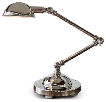 Alva Industrial Loft Adjustable Polished Nickel Task Lamp - transitional - Desk Lamps - Kathy Kuo Home