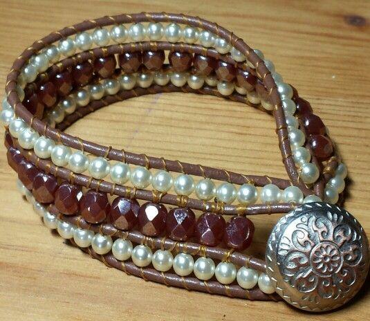 Bruin/leren armband
