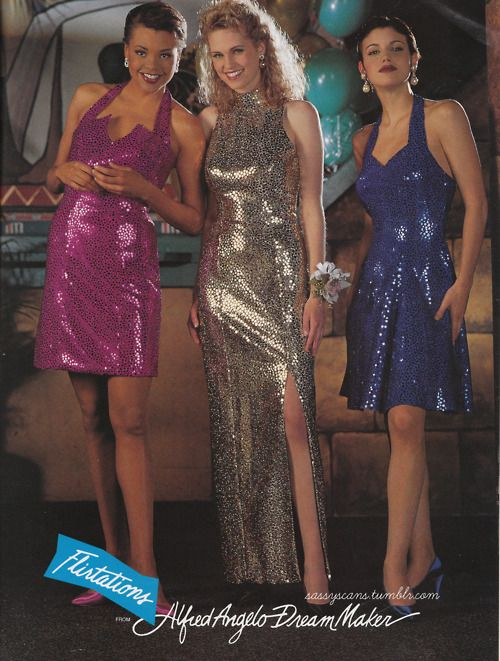 An ad from the March 1994 Sassy Magazine prom issue. SEQUIN OVERLOAD