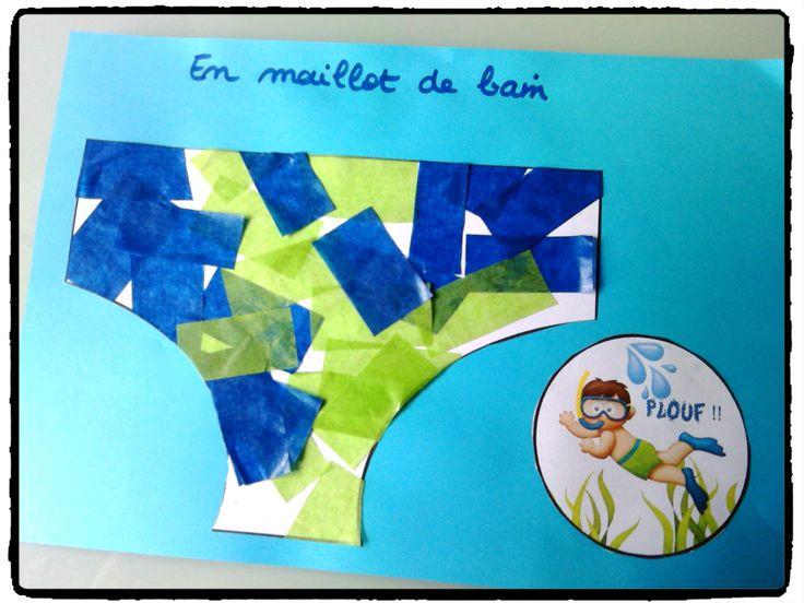 décorer son maillot de bain, bricolage enfant, été, vacances, collage