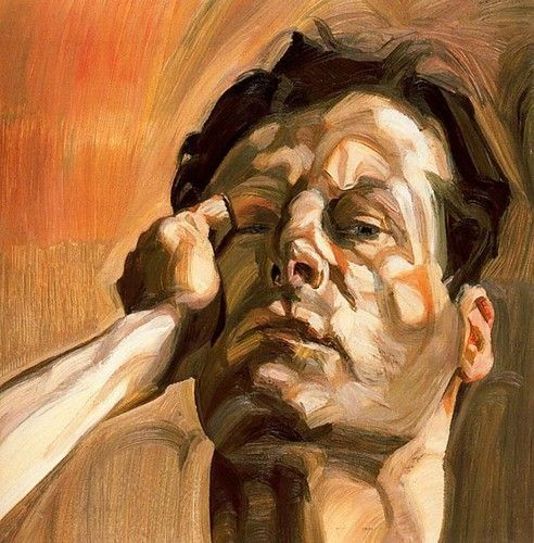 Lucian Freud: Self-Portrait...omg <3 brushwork <3 lighting <3 the attitude.