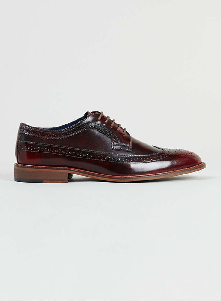 Delta Longwing Burgundy Leather Brogues