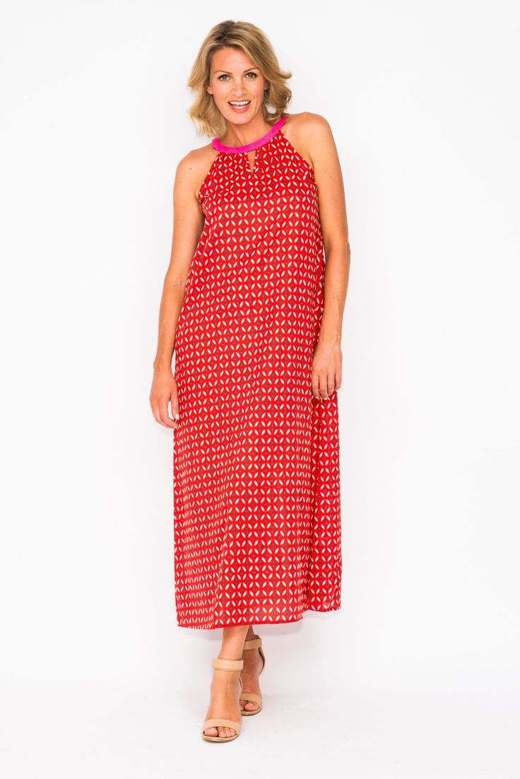 Smash in this red Zoe Geo Cotton Dress! Yours now for $24.95! https://goo.gl/fDete9