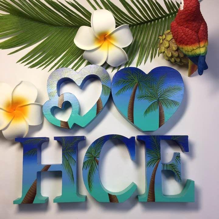 たかちゃん様専用 こちらは 5文字の値段 です ハワイをイメージした 完全オリジナルの手描きアルファベットです グラデーションを施した後 ヤシの木 ヤシの葉を一本一本丁寧に描いています 全ての面にグラデーションを施していますので どこからみても綺麗です