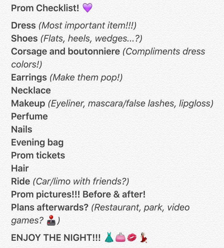My 2016 Prom Checklist. Gotta make sure everything's perfect!
