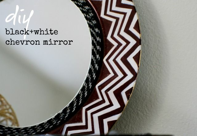 DIY black and white chevron mirror