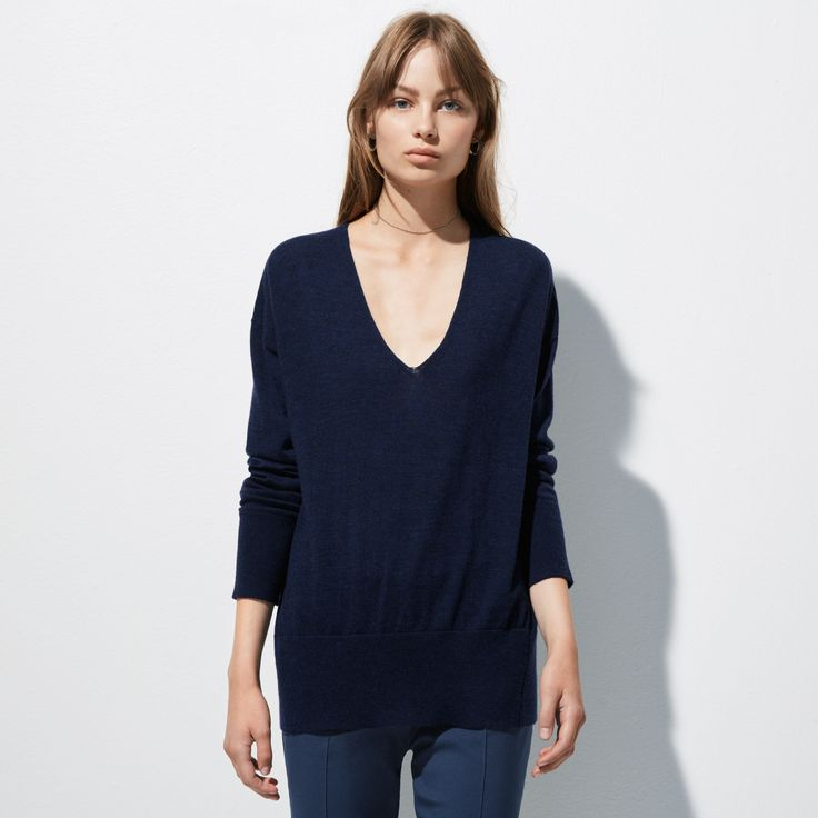 FWSS Coming Home is a superfine and classic merino V-neck knit with rib detailing at edges.