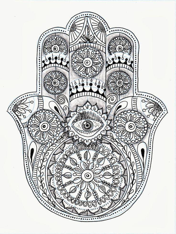 26 best images about coloring pages hamsa designs on - Coloriage main de fatma ...