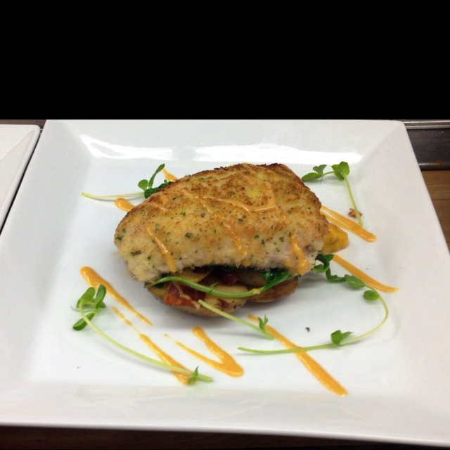 Panko and herb breaded pickerel w smoked bacon warm potato salad and choron sauce