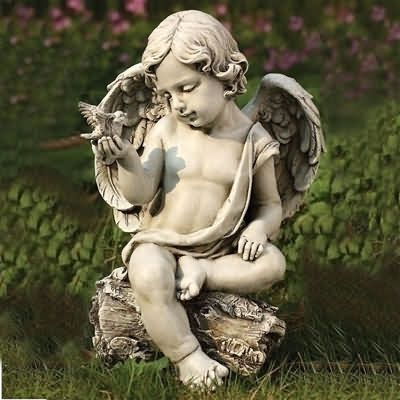 cherub with dove, garden cherub with bird, cherub statues, cherub sculptures