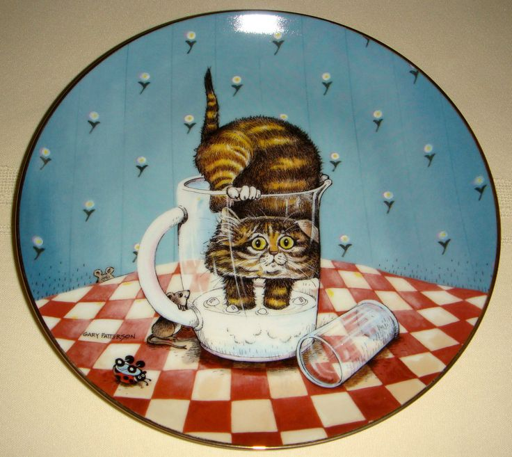 Gary Patterson Comical Cats Kitty Drinks Milk CURIOSITY Sidesplitting Plate CUTE   eBay