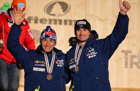 02.03.2013, Val di Fiemme, Italy (ITA): (l-r) Jason Lamy Chappuis (FRA), Salomon, Swix, One Way and Sebastian Lacroix (FRA), Atomic, Salomon, One Way- FIS nordic world ski championships, nordic combined, team sprint HS134/2x7.5km, Val di Fiemme (ITA). ww NordicFocus