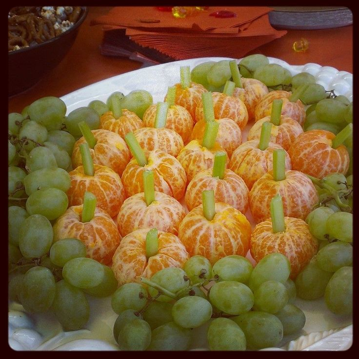 Adorable!!! Fall Themed Snack (Pumpkin Oranges/Grape Platter & Candy Corn/Pretzel/Popcorn Snack Mix)