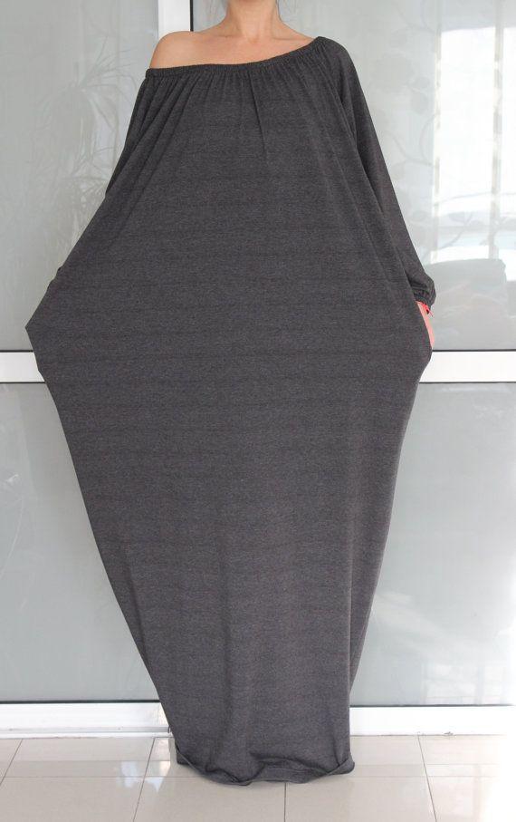 Dark Grey MAXI Plus Size one size handmade elastic cotton tricot long maxi fall-winter caftan dress on Etsy, $79.00