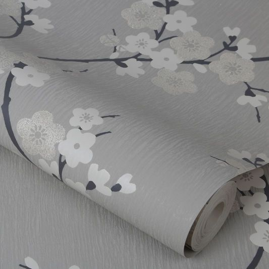 Cherry Blossom Taupe et Charcoal