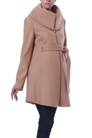Amazon.com: Momo Maternity Women's 'Ava' Wool Blend Fold Collar Zip Up Coat: Clothing