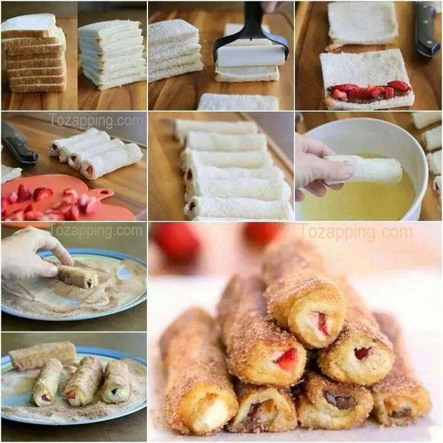 Rollitos de tostadas francesas de fresa queso crema y chocolate ¡Desayunos irresistibles y apetitosos! Un pequeño capricho, Rollitos de tostadas francesas