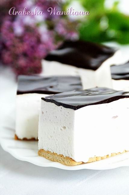 creamy lemony mousse with chocolate topping