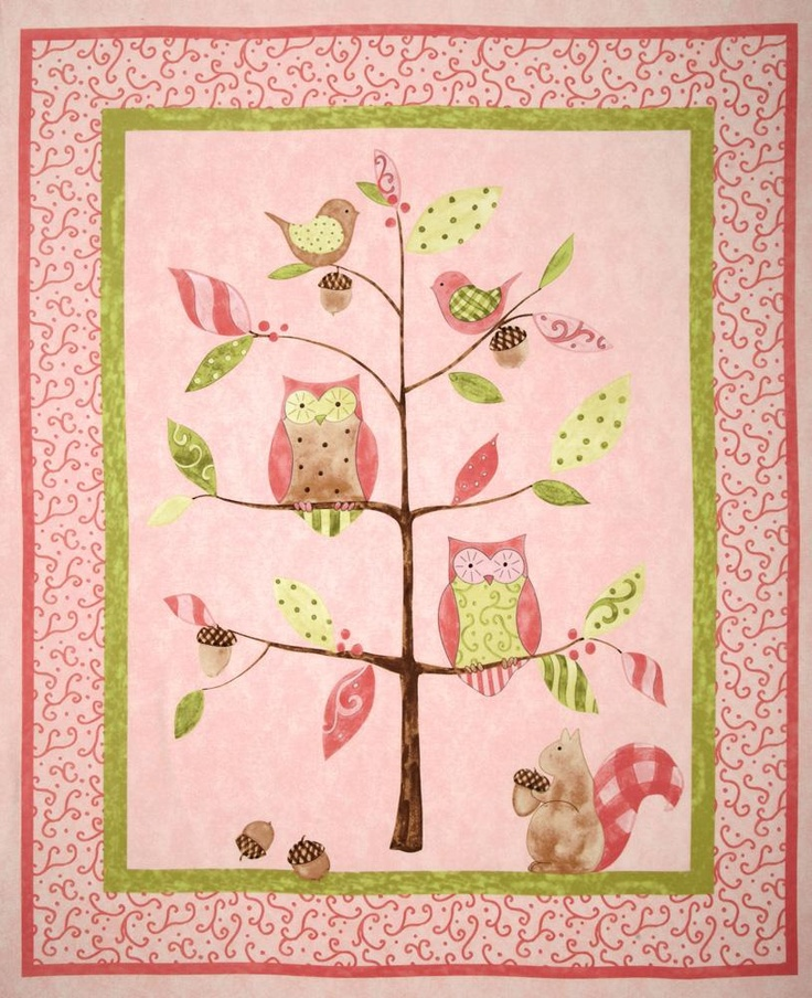 Owl Tree Nursery Quilt Panel Pink Discount Designer