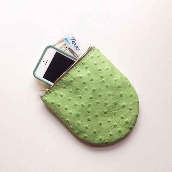 Prickly Pear Pouch • Bright Green Leather iPhone Pocket • Zipper Pouch