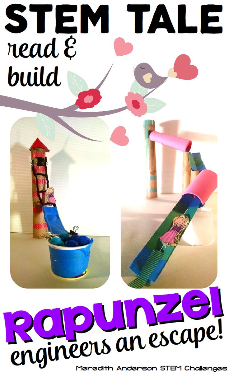 STEM Activity for Kids - use a familiar fairy tale to work through the engineering design process. Rapunzel engineers an escape is perfect for your budding engineers in grades 1-3. Ask Imagine Plan Create Improve | Meredith Anderson STEM Activities
