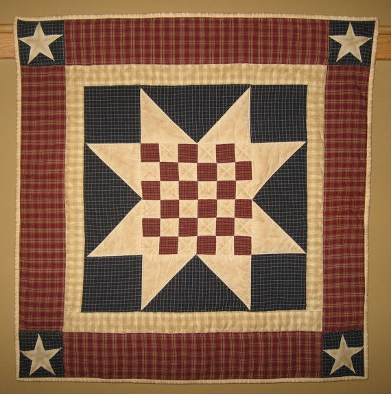 Quilted Checkered Americana Star Table Topper