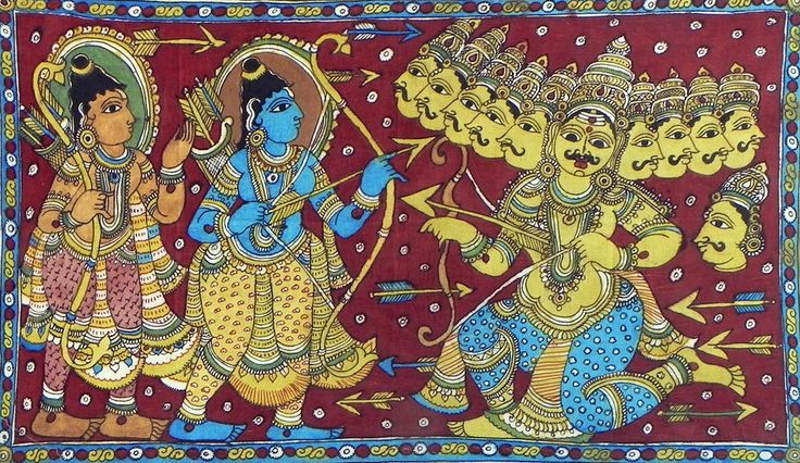 Rama and Lakshmana at War with Ten Headed Ravana - Kalamakari Painting