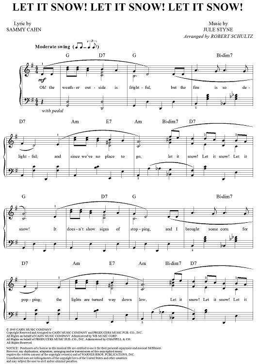 Let It Snow Lyrics | Time for the Holidays. More words and music at http://www.learnyourchristmascarols.com/2003/12/let-it-snow-sammy-cahn-j.html #LearnYourChristmasCarols