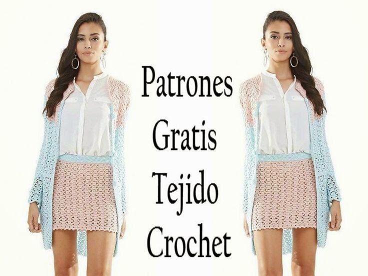 Delicadezas en crochet Gabriela: Falda y casaca larga en punto fantasía