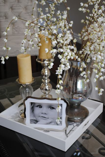end table accessories...candle holders, vase/flowers