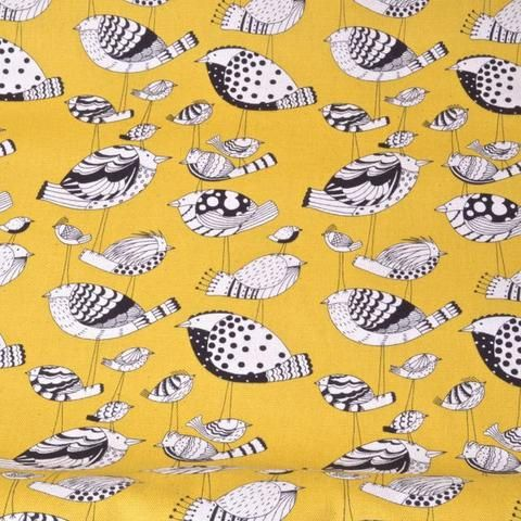 bird sketches on yellow background fabric