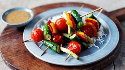 BBC Food - Recipes - Oriental vegetable kebabs with peanut dressing