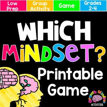 Growth Mindset or Fixed Mindset Board Game (for grades 2-4) Included in your purchase: -1 print and go game board -32 game cards that require students to read statements and identify them as representing either a fixed mindset or a growth mindset -answer
