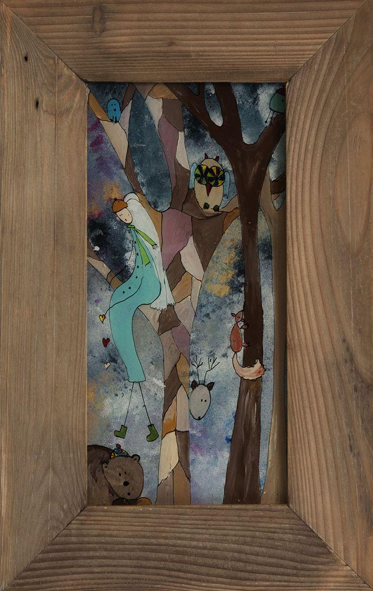 W lesie! - malarstwo na szkle!