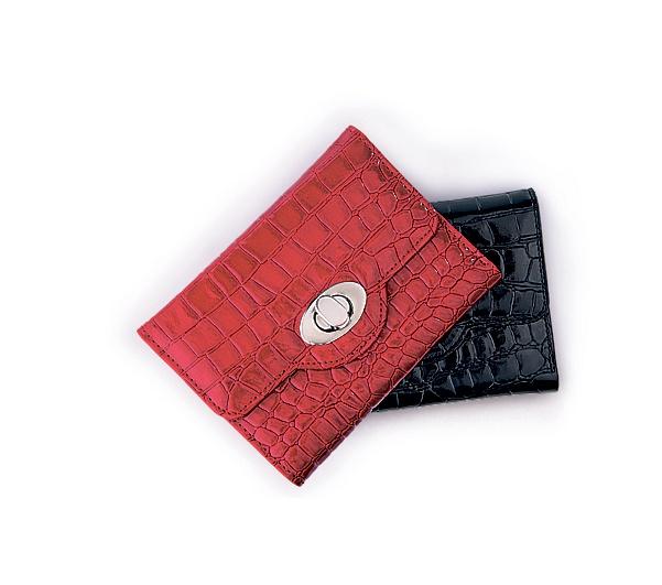Red & Black Croc Turnlock Wallets