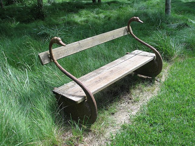 Wood and iron, swan bench