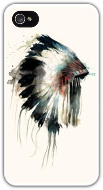 Headdress Watercolor Cell Phone Case Cover iPhone 4 4S 5 5S Samsung Galaxy S3 S4 Native American Indian Chief Feathers $24.99+FREE SHIPPING